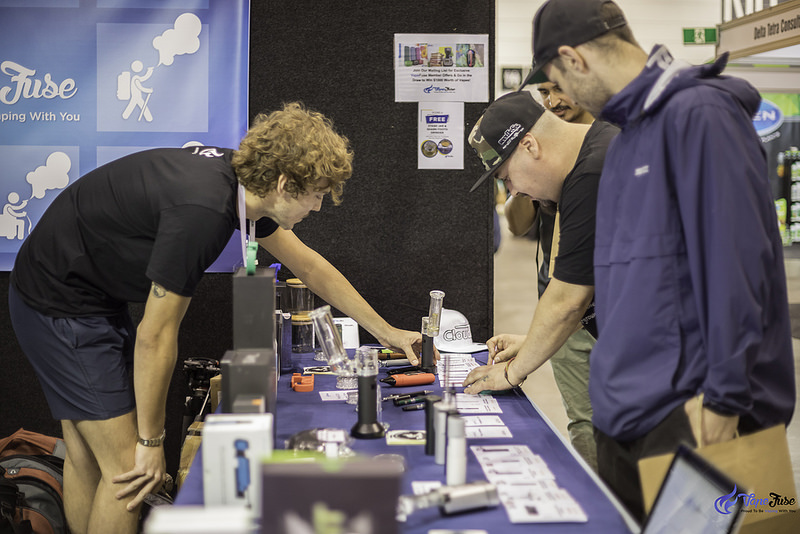 Customers at the VapeFuse Booth at the HHI Expo Melbourne, Australia DIY E-juice