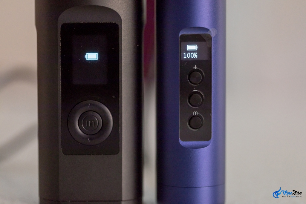 Arizer Solo II and Air II showing battery level
