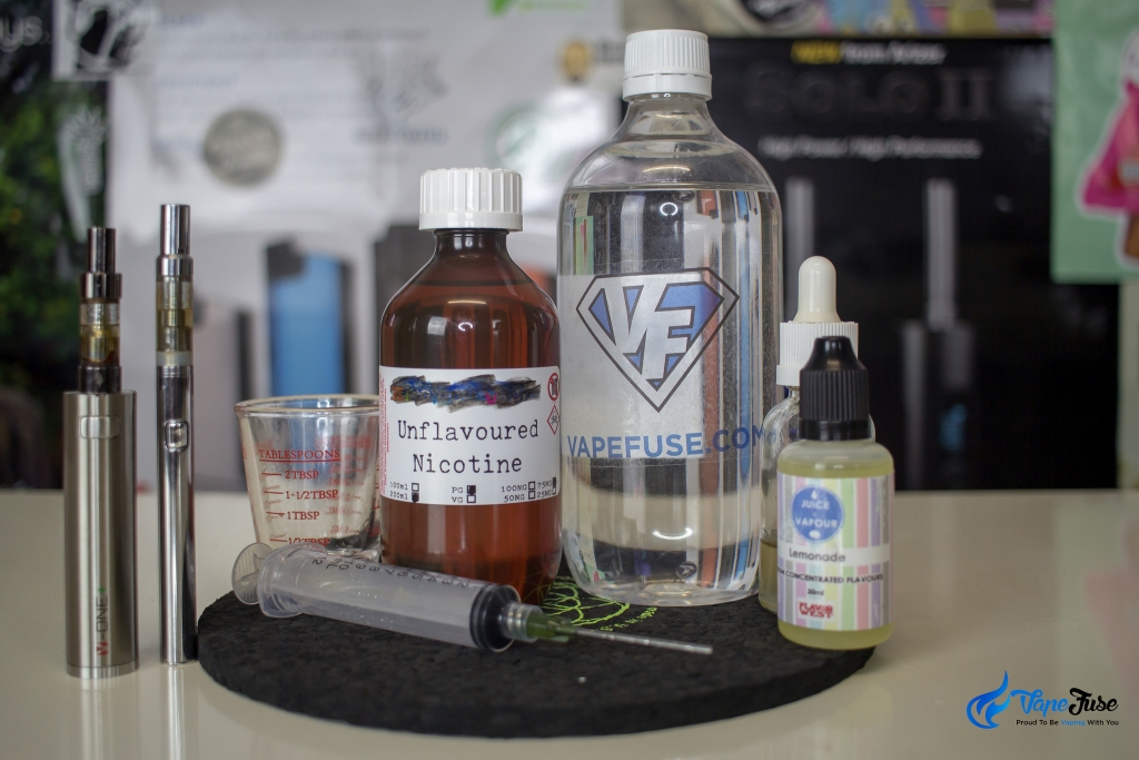 All you need to mix your own nicotine-rich e-Liquid